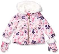 London Fog Little Girls' Toddler Faux Fur Bottom and Hood Matte Shimmer Satin Jacket