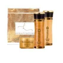 Keratin Cure Gold & Honey 3 Piece Deep Hair Care Sulfate Free Shampoo, Conditioner & Deep Masque Soft Repair Moisturize Argan & Fruit Oils, Shea botanicals 160ml / 250gr