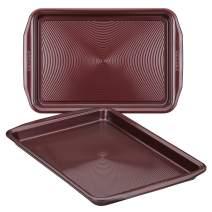 Circulon 47738 Nonstick Bakeware Set, Nonstick Cookie Sheets / Baking Sheets - 2 Piece, Merlot Red