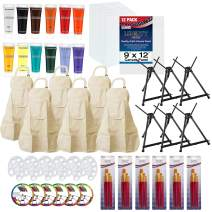 U.S. Art Supply Sip and Paint Art Party Painting Kit - 6 Easels, 12 Paint Tube Set, 12 Canvas Panels, 6 Brush Sets & 6 Aprons