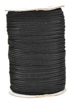 Mandala Crafts Flat Elastic Band, Braided Stretch Strap Cord Roll for Sewing and Crafting (1/4 inch 6mm 50 Yards, Black)