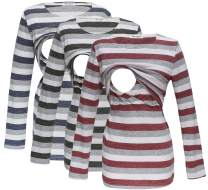 Bearsland Women's 3 Packs Maternity Clothes Long Sleeves Breastfeeding Shirts Nursing Top