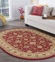 Tayse Raleigh Red 7x10 Oval Area Rug for Living, Bedroom, or Dining Room - Traditional, Floral