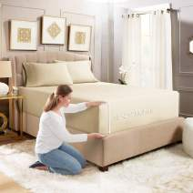 """Empyrean Bedding 3 Set 21"""" Extra Deep Pocket Fitted Sheet with Corner Straps–Double Brushed Microfiber Sheet and Pillowcase Set - 110 GSM – Hypoallergenic Wrinkle Free Sheet, Cream Beige - Cal King"""