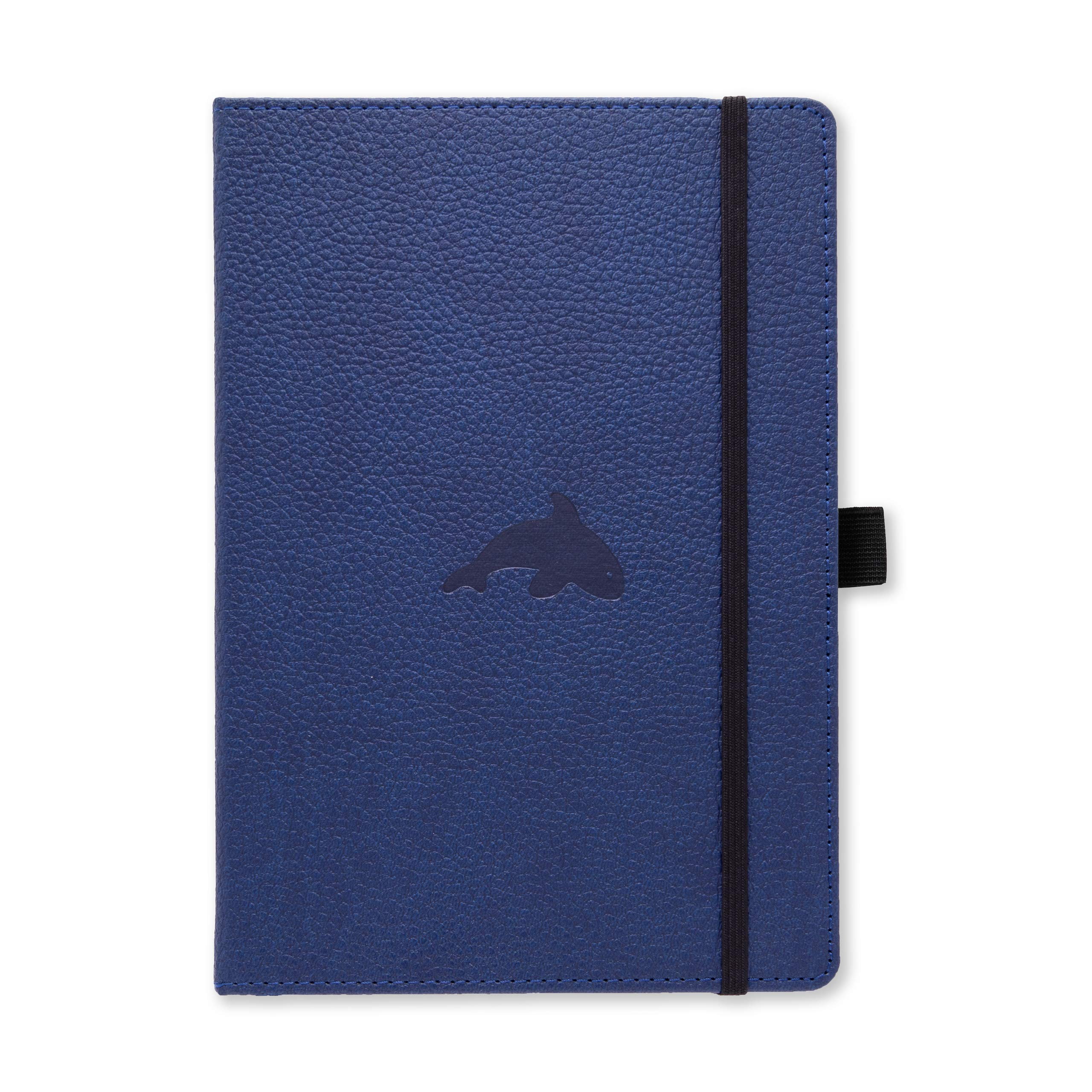 Dingbats Wildlife Dotted Hardcover Notebook - PU Leather, Perforated 100gsm Ink-Proof Paper, Pocket, Elastic Closure, Pen Holder, Bookmark (Blue Whale, Medium A5+ (6.3 x 8.5))