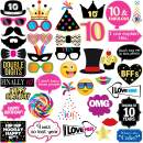 10th Birthday Photo Booth Party Props - 40 Pieces - Funny Kids Birthday Party Supplies, Decorations and Favors