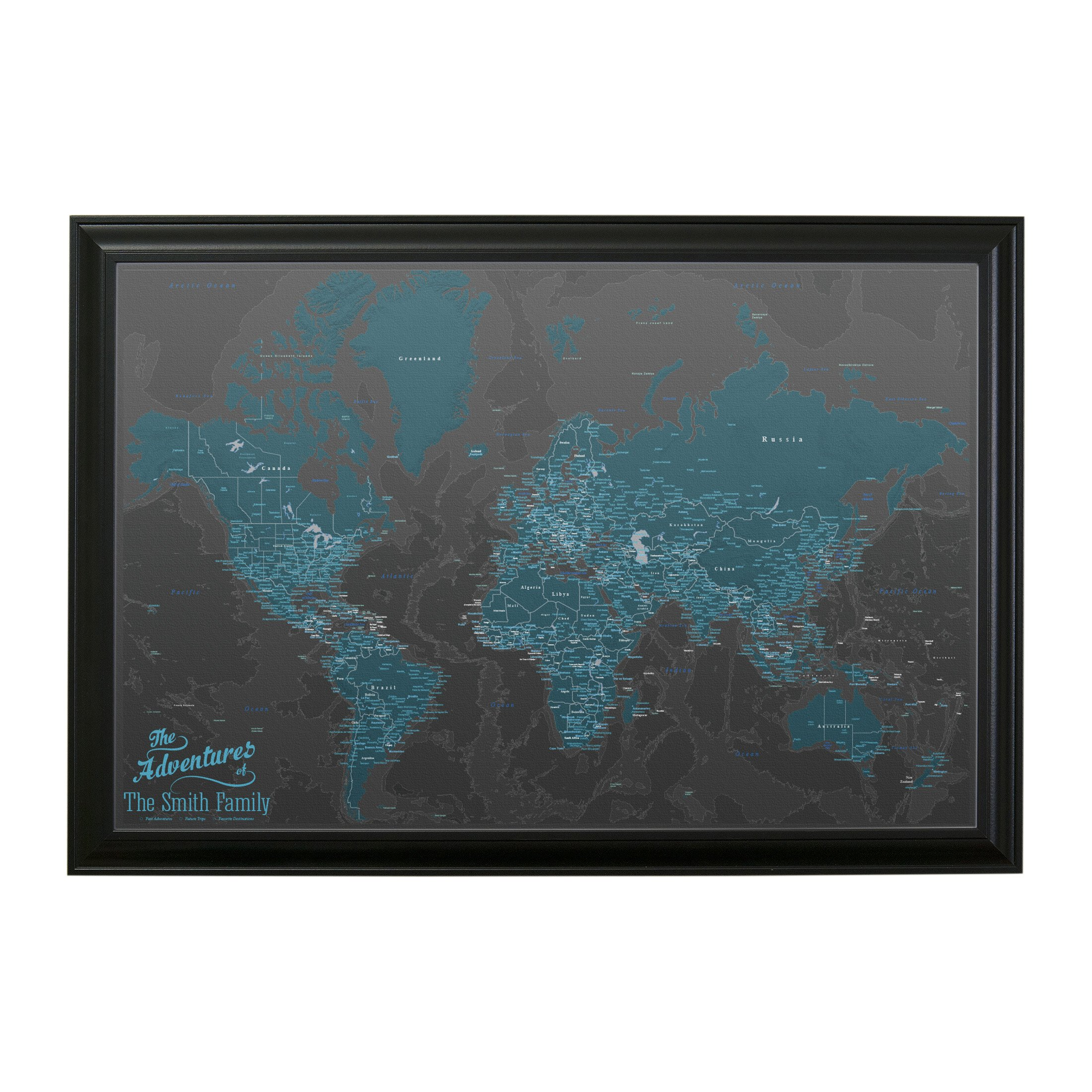 Push Pin Travel Maps Canvas - Personalized Midnight Dream World with Black Frame