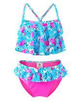 Girls Two Piece Swimsuits, Kids Flamingo Hawaiian Ins Bikini, Tropical Printing Beach Bathing Suit for Vacation