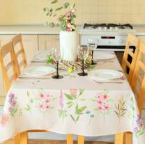 """Summer Floral Coloring Easter Tablecloth Non-iron Stain Resistant Spring Table Cover Perfect for Easter Kitchen Indoor Dining Room Outdoor Restaurants Easter Decorations (Ecru Easter3, Square 52""""x52"""")"""