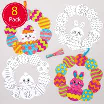 Baker Ross AT528 Easter Colour-in Wreaths — Creative Art and Craft Supplies for Kids to Make and Decorate (8 Pack)