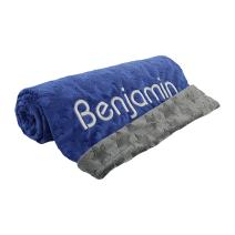 berry bebe Personalized Baby Blanket for Boy, Custom Name Blankets, Star Design, Blue and Gray