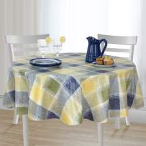 """Harmony Plaid Checkered Print Stain Resistant and Spill Proof with Flannel Backing Vinyl Tablecloth for Spring/Summer/Party/Picnic, Blue, 60""""x144"""" Round"""