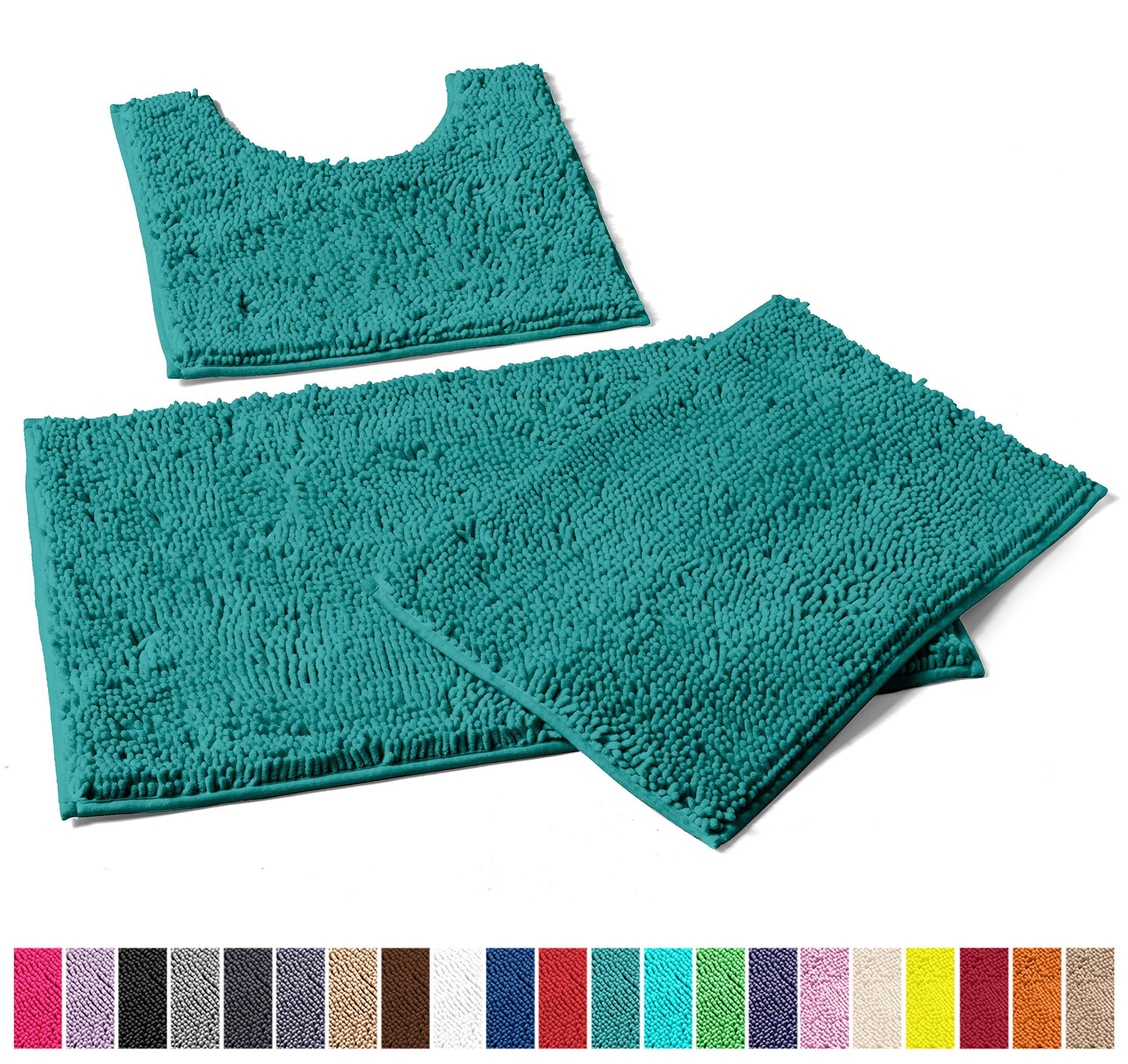 LuxUrux Bathroom Rugs 3pc Non-Slip Shaggy Chenille Bathroom Mat Set, Includes U-Shaped Contour Toilet Mat, 20 x 30'' and 16 x 24'' Bath Mat, Machine Washable (3 Pc Set - Style A, Turquoise)