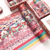 12 Rolls Washi Tape Set, Cherry Blossoms Floral Pattern Washi Masking Tape for Scrapbook,DIY,Crafts,Bullet Journal,DIY,Gift Wrapping