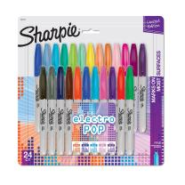Sharpie Electro Pop Permanent Markers, Fine Point, Assorted Colors, 24 Count