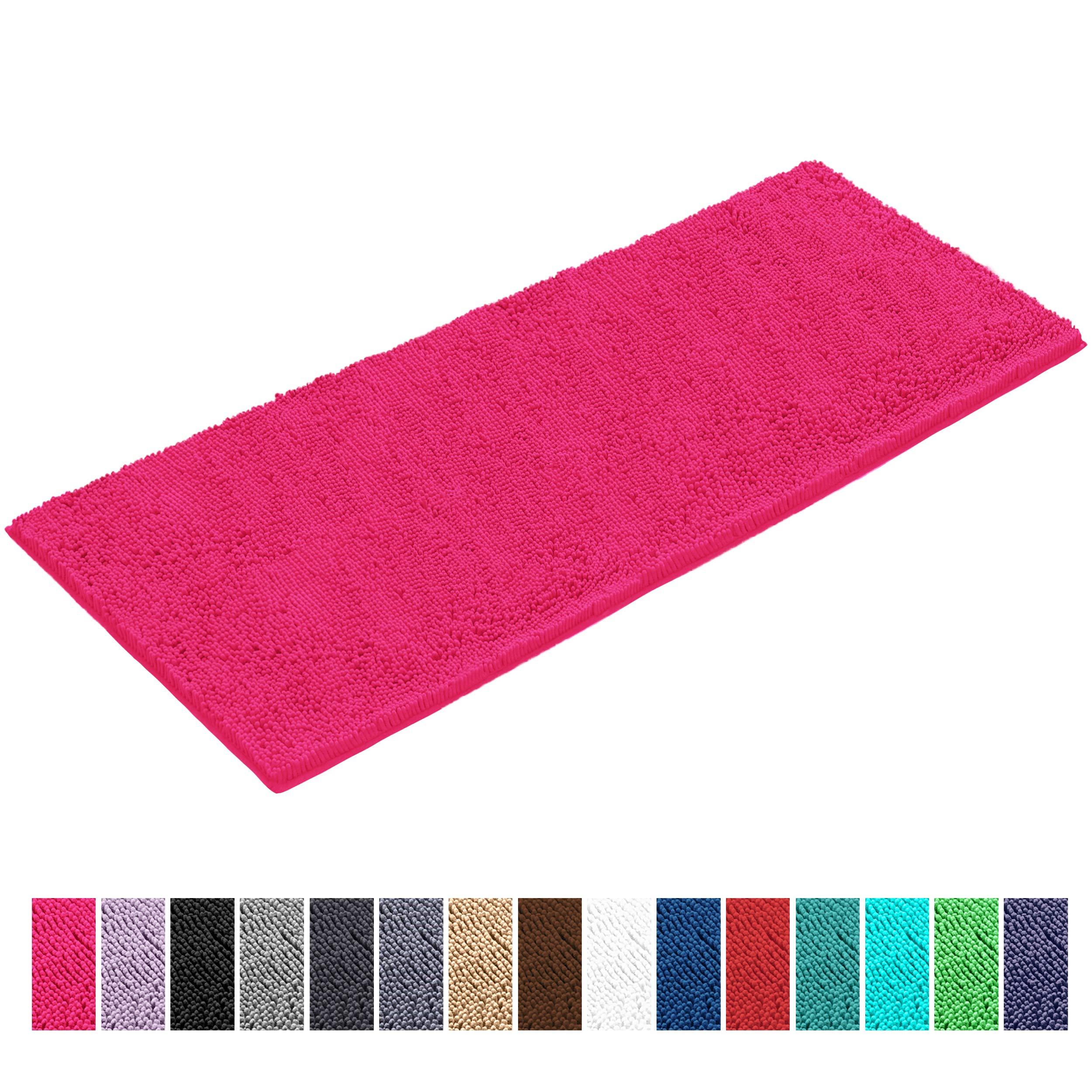 LuxUrux Bath Mat-Extra-Soft Plush Bath Shower Bathroom Rug,1'' Chenille Microfiber Material, Super Absorbent Shaggy Bath Rug. Machine Wash & Dry (27''x 47 inches, Hot Pink)
