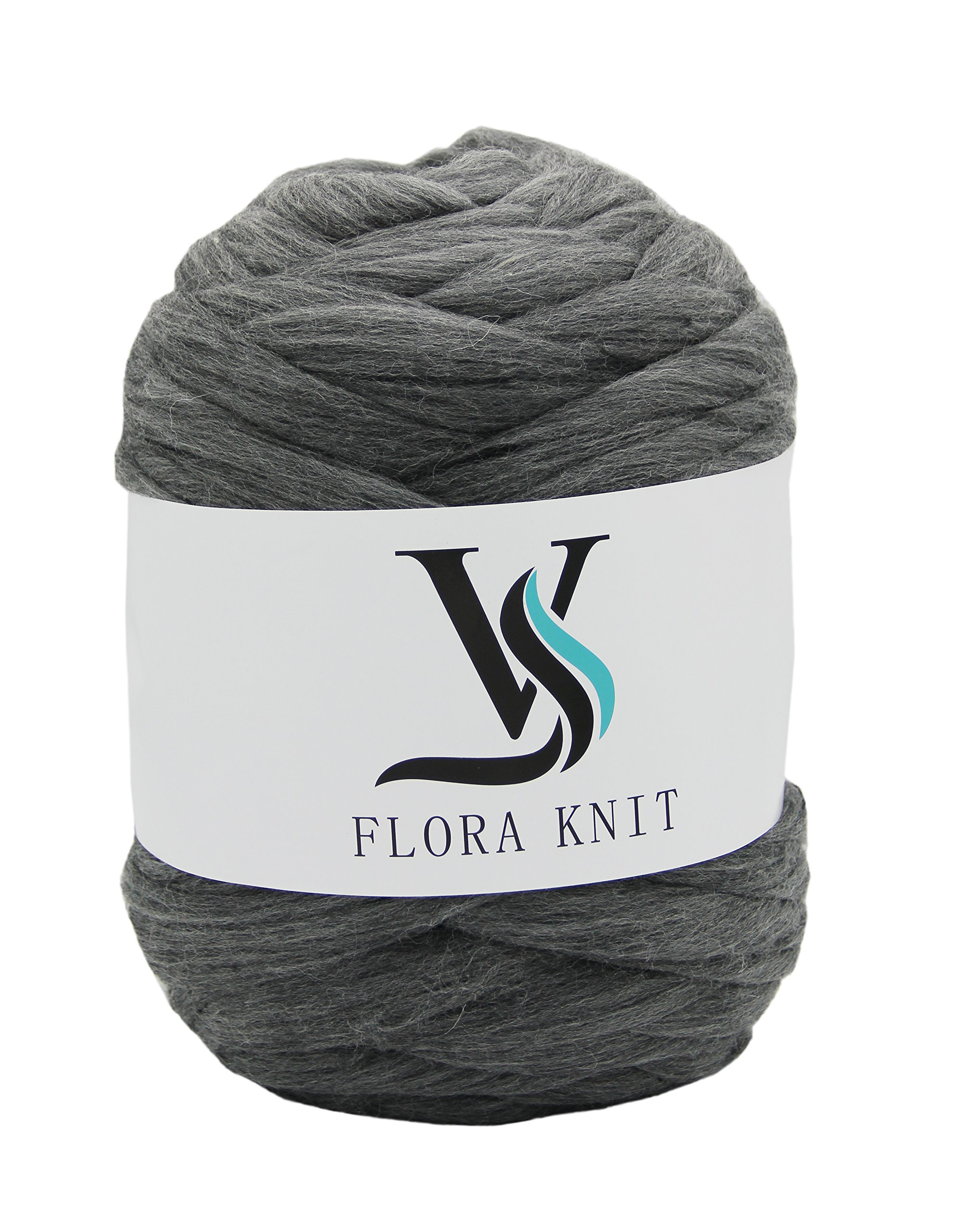 Merino Wool Super Chunky Yarn- Bulky Roving Yarn for Finger Knitting,Crocheting Felting,Making Rugs Blanket and Crafts by FLORAKNIT (Gray, Super Chunky-4.4LB)
