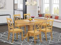 East West Furniture AVBO7-OAK-W Kitchen dining table set 6 Amazing Wooden dining room chairs - A Stunning round dining table- Oak Color Wooden Seat Oak Butterfly Leaf modern dining table