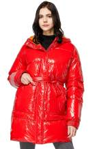 Orolay Women's Warm Winter Belted Down Coats with Stand Collar Thick Hood