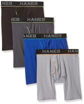 Hanes Ultimate Men's Comfort Flex Fit Ultra Lightweight Mesh Long Leg Boxer Brief 4-Pack