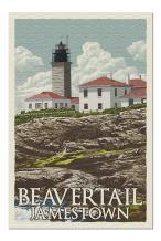 Jamestown, Rhode Island - Beavertail Lighthouse - Letterpress (Premium 1000 Piece Jigsaw Puzzle for Adults, 20x30, Made in USA!)