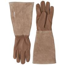 AmazonBasics Leather Gardening Gloves with Forearm Protection - Brown, S