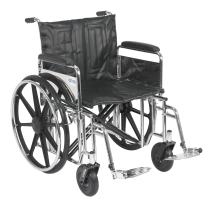 Drive Medical Sentra Extra Heavy Duty Wheelchair with Various Arm Styles and Front Rigging Options, Black Upholstery and Chrome Frame, Bariatric, 22 Inch