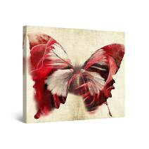 Startonight Canvas Wall Art Red Butterfly - Butterfly Framed 32 x 32 Inches