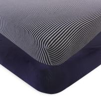 Touched by Nature Unisex Baby and Toddler Organic Cotton Crib Sheet, Navy Heather Gray, One Size
