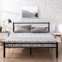 Zinus Geraldine 12 inch Black Metal Platform Bed Frame with Headboard and Footboard / Premium Steel Slat Support / Mattress Foundation, Queen