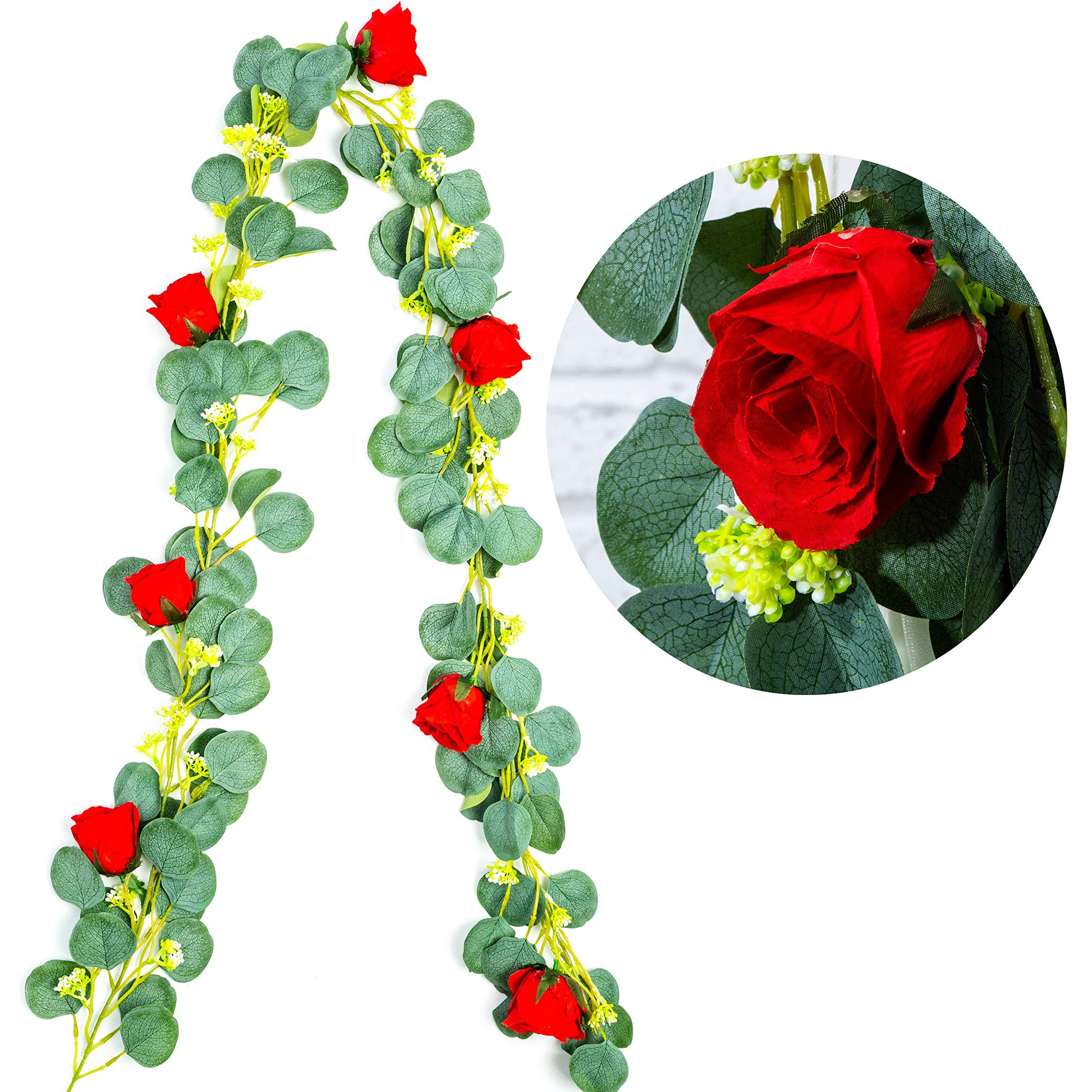 HEJIAYI Artificial Rose Vine Flower Garland Silk Faux Eucalyptus Garland Greenery Eucalyptus Leaves Wedding Backdrop Arch Wall Decor (2, Red Rose)