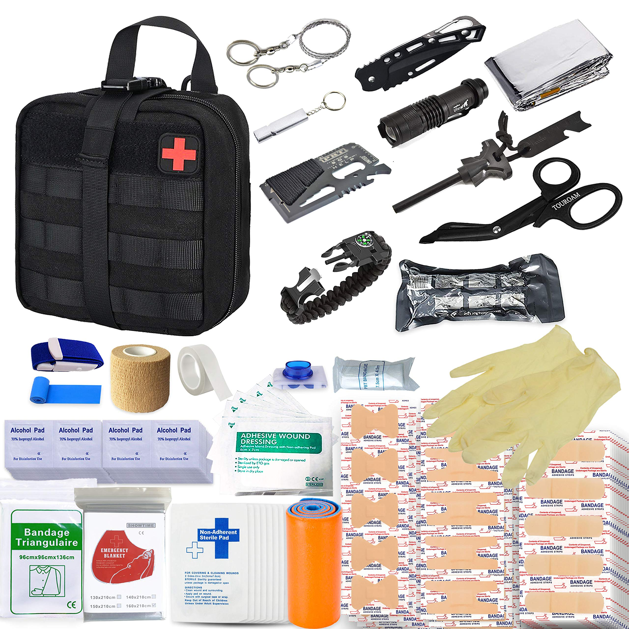 TOUROAM Multitool Emergency SOS Survival Kit | Tactical Admin Pouch IFAK | Outdoor Military Survival Kit- for Camp, Adventure, Kayak, Hunt, Hike