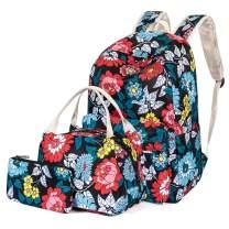 H HIKKER-LINK Floral School Backpack Set Bookbag&Lunch Bag&Pencil Case Black