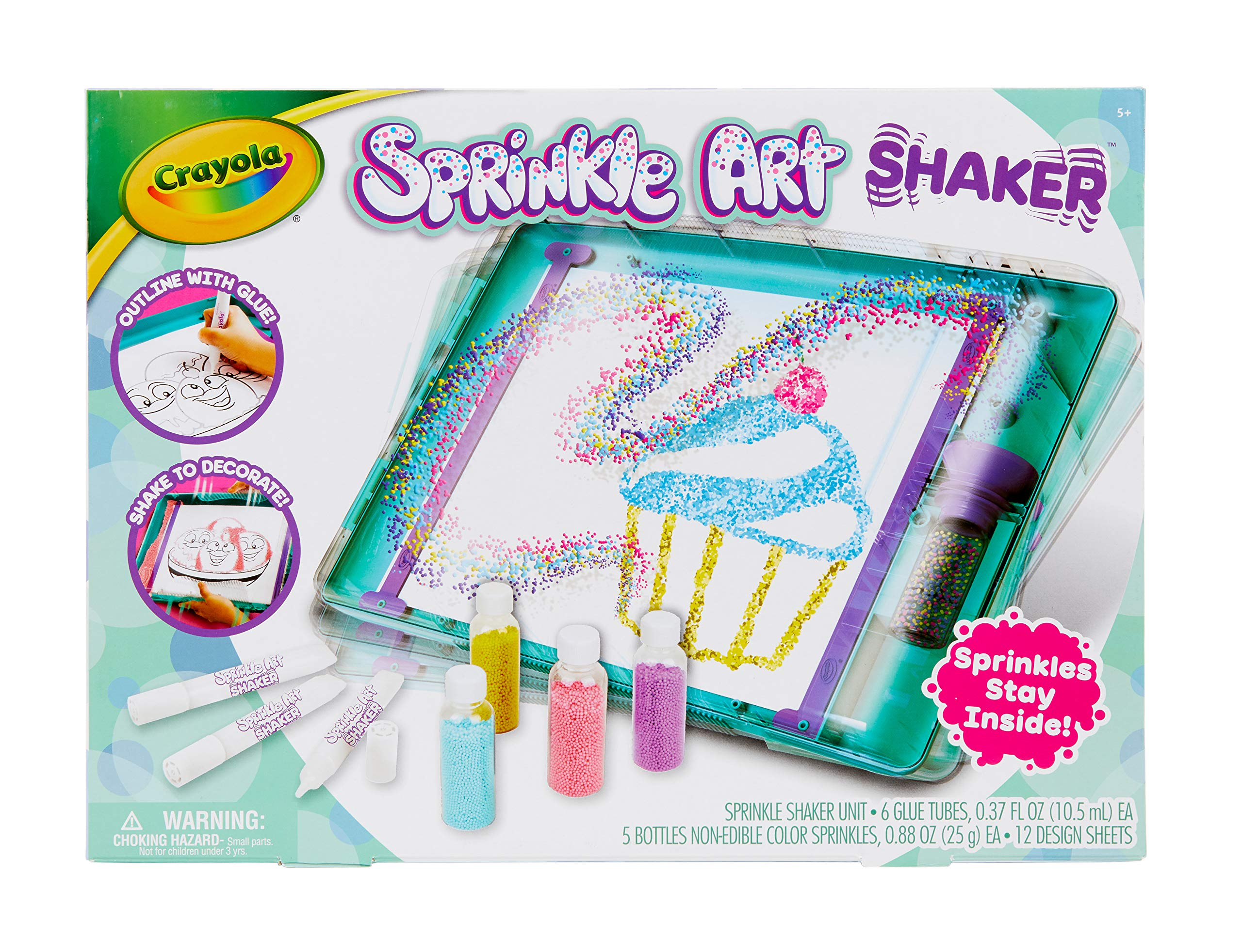 Crayola Sprinkle Art Shaker, Rainbow Arts & Crafts for Girls, at Home Crafts for Kids, Gift, Age 5, 6, 7, 8, Multicolor