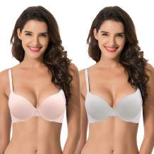 Curve Muse Women's Light Lift Add 1 Cup Push Up Underwire Convertible Tshirt Bra