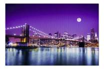 New York City, New York - Brooklyn Bridge with Skyline and Moon - Photography A-91953 (Premium 1000 Piece Jigsaw Puzzle for Adults, 19x27, Made in Germany)