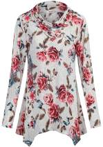Bepei Womens Floral 3/4 Cuffed Sleeve Cowl Neck Tops Asymmetrical Tunic Blouse
