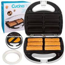 Empanada and Churro Maker Machine- Cooker w 4 Removable Plates- Easier than Empanada Press or Churro Press- Includes Dough Cutting Circle for Easy Dough Measurement