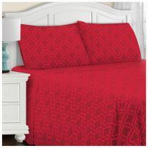 Superior 100% Brushed Cotton Flannel Bedding Sheet Set, Full, Burgundy Trellis