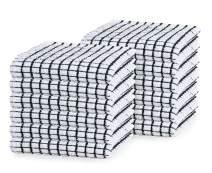 GLAMBURG Terry Windowpane Dish Cloths 12x12 Set of 12, Absorbent Dish Towels and Dish Cloths, Machine Washable Kitchen Tea Towels, Kitchen Bar Towels and Dish Towels - Black