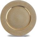 Fantastic:) Round 13 Inch Plastic Charger Plates with Eletroplating Finish (1, Hammer Gold)