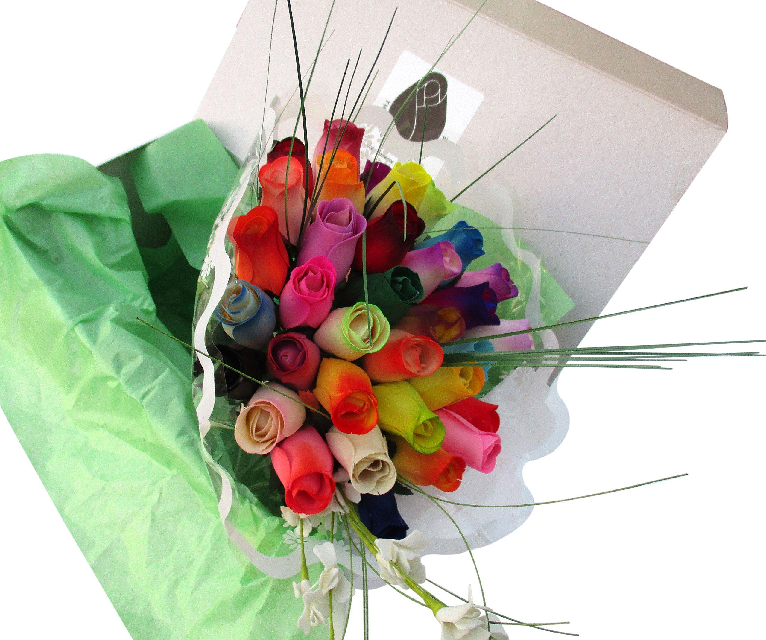 The Original Wooden Rose Assorted Colors Floral Flower Bouquets in a Gift Box (3 Dozen Bouquet) …