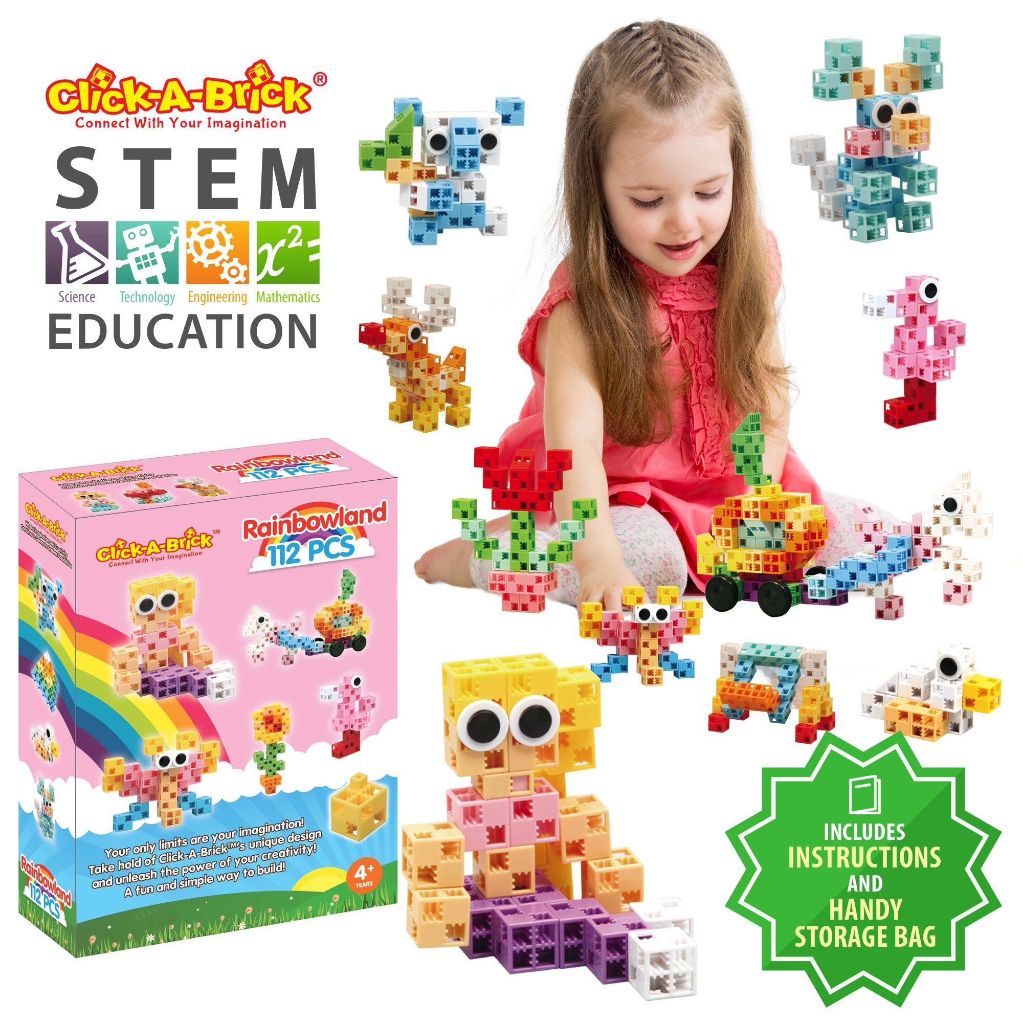 Click-A-Brick Rainbowland 112pc Building Blocks Set   Best STEM Toys for Boys & Girls Age 4 5 6 7 Year Old   Fun Kids 3D Construction Puzzle   Top Educational Learning Gift for Children Ages 4-10