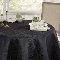 Town & Country Living Lexington Damask Rectangle Tablecloth, Stain Resistant/ Machine Washable/Cotton Polyester Blend, Black