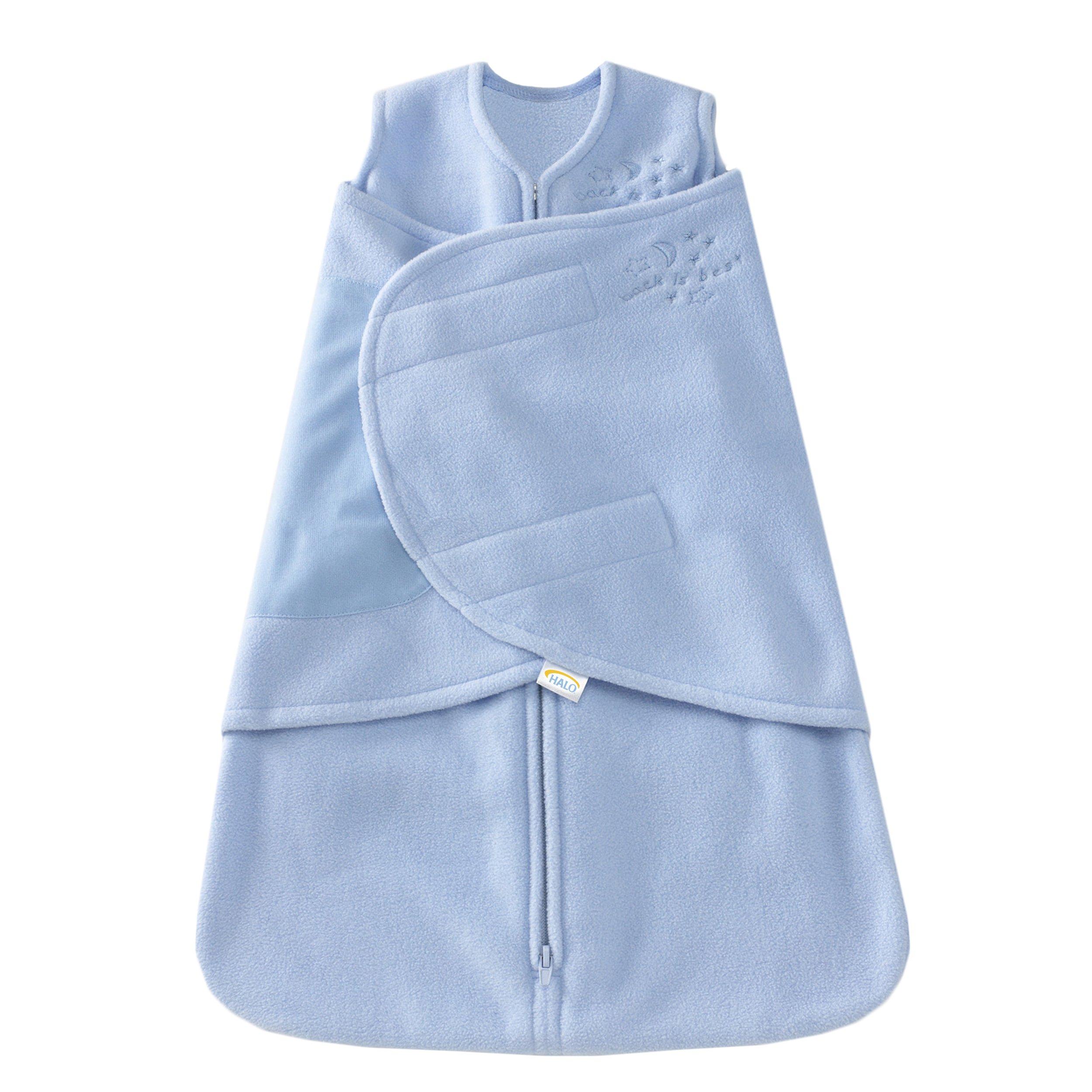 HALO SleepSack Micro-Fleece Swaddle, Baby Blue, Preemie