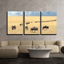 """wall26 - 3 Piece Canvas Wall Art - Wildebeest, National Park of Kenya, Africa - Modern Home Decor Stretched and Framed Ready to Hang - 16""""x24""""x3 Panels"""