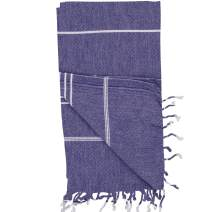 Turkish Towels by Riviera Towel Co. - Help Heal Our Oceans with A Thin Stylish Striped Beach Bath Pool Spa Towel - 100% Cotton - Navy