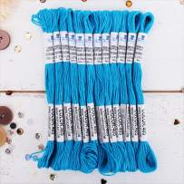 12 Skeins ThreadArt Premium Egyptian Long Fiber Cotton Embroidery Floss | Aqua| Six Strand Divisible Thread 8.75yds Each Skein For Hand Embroidery, Friendship Bracelets, Cross stitch and Crafts
