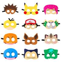 MALLMALL6 12Pcs Pikachu Masks Dress Up Costumes Pikachu Halloween Birthday Party Favors Anime Cartoon Trainer Pretend Play Accessories Photo Booth Props Video Game Party Supplies for Kids Boys Girls