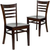 Flash Furniture 2 Pk. HERCULES Series Ladder Back Walnut Wood Restaurant Chair